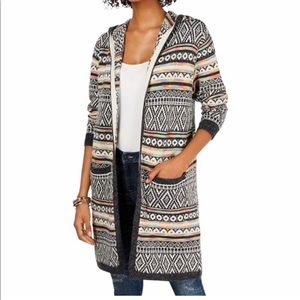 Monteau knit long sleeve hooded Aztec print open front cardigan size small